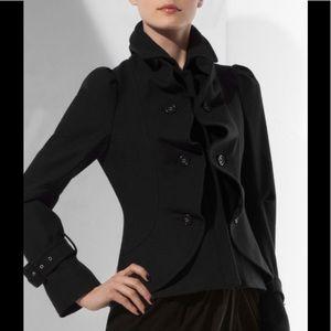 BCBG Maxazria Wool Blend Blue Ruffle Jacket Large